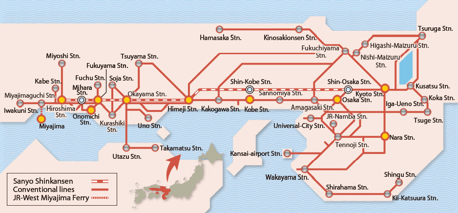 JR West Rail Pass Valid Train Route Maps