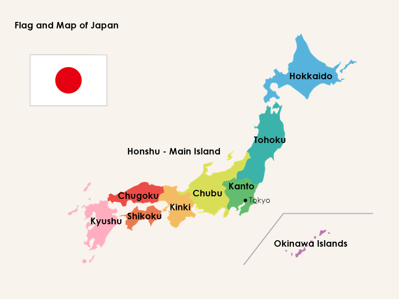 Facts of Japan - flag and map of Japan