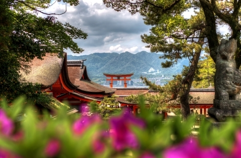 Itsukushima Shrine through the trees - Japan Essence - 10 days private escorted tour of Japan